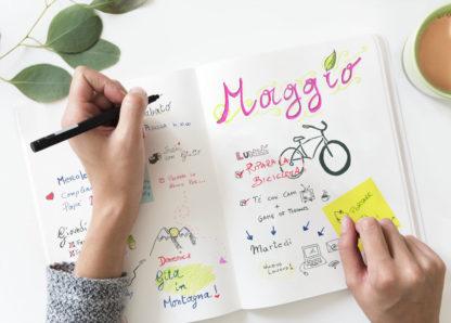 diario, taccuino, bullet journal, disegno, scrittura, appunti, ricette, planning